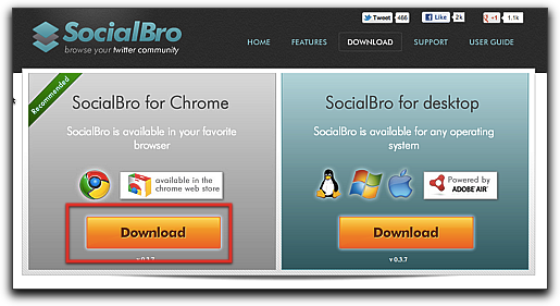 Socialbro download page